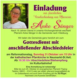 Herzliche Einladung zur Verabschiedung von Pfarrerin Anke Sänger